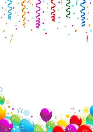 Illustrazione vettoriale di coriandoli e palloncini multicolori su sfondo bianco.