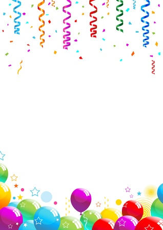 balloon border: Vector illustration of multicolored confetti and balloons on white background. Illustration