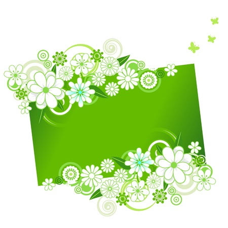 Green floral ornament with copy space. Vector