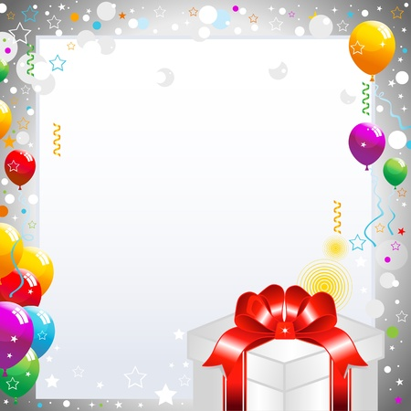 Colorful balloons and gift box isolated on white background illustration. Vector