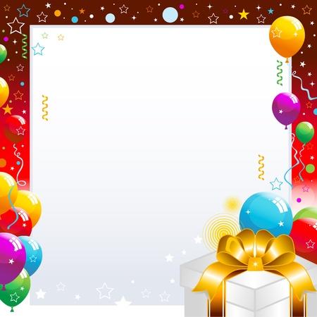 globos de cumplea�os: Globos de colores y caja de regalo aislados sobre fondo blanco ilustraci�n.