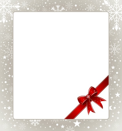 Gift bow with copy space and snowflakes. Vector