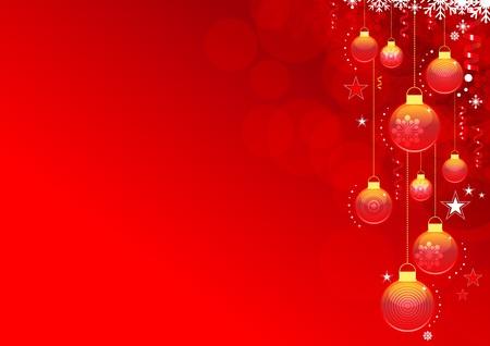 Abstract Weihnachten Hintergrund mit Schneeflocken und Weihnachtskugeln. Globale Farbfelder f�r die einfache Bearbeitung. Illustration
