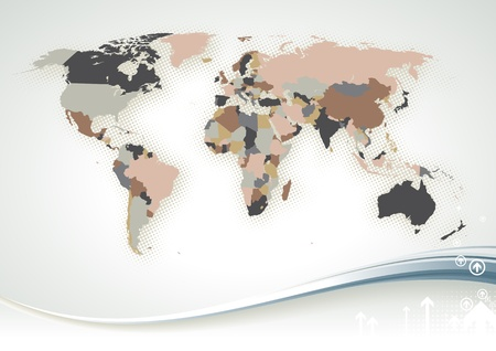 World Map dettagliata con tutti i nomi di paesi e capitali - singoli oggetti disegnati, semplici colori modificabili.