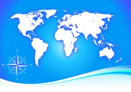 Blue background with map and compass illustration design. Vector