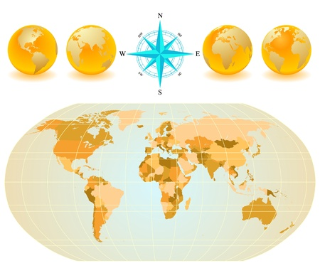 Vector set of World map with four globes and compass. Illustration