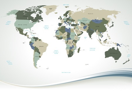 Detailed World Map with all Names of Countries and Capitals - individual drawn objects, easy editable colors. Illustration