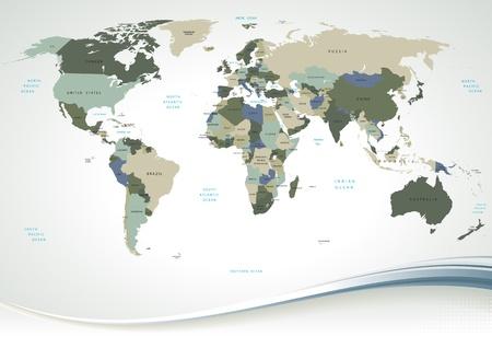 Detaillierte Weltkarte mit allen Namen der L�nder und Hauptst�dte - individuelle gezeichnete Objekte, leicht bearbeitbaren Farben.