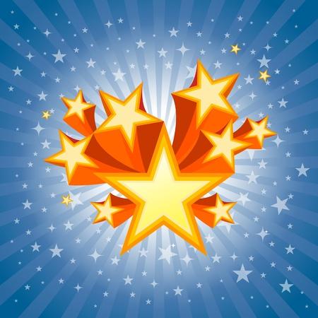 Dark blue star burst background and orange star burst. Vector