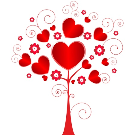 Valentine day tree with flowers and hearts. Vector