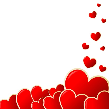 Creativo Valentine biglietto di auguri con il cuore in colore rosso, illustrazione. Vettoriali