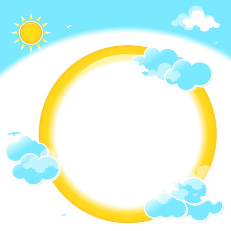 Sun and blue sky with beautifull clouds. Vector image. Vector