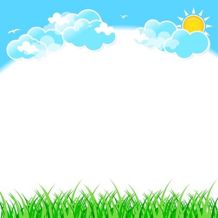 Erba verde su sfondo cielo blu con nuvole.