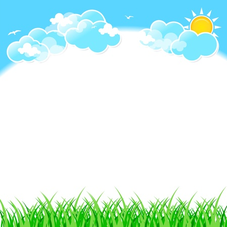 green leaves border: Green grass on blue sky background with clouds.