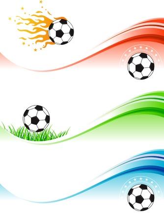 Tres banderas de colores abstractos de fútbol. Ilustración de vector