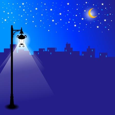 Illustratie van een skyline van de stad bij nacht met sterren en maanlicht.