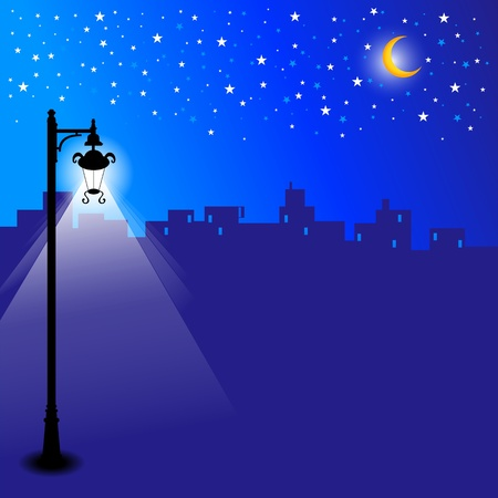 Illustration of a city skyline at night with stars and moonlight.