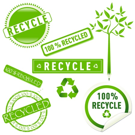 Recycle stickers set, Isolated on white background illustration. Stock Vector - 12439765