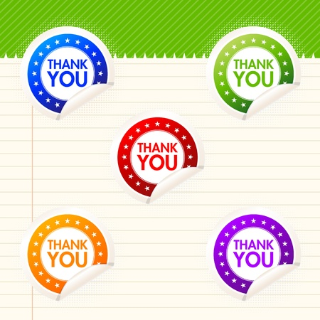 Colorful thank you stickers with curled edge. Vector