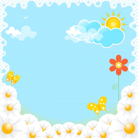 Flowers on a background of blue sky with clouds Stock Vector - 13642108