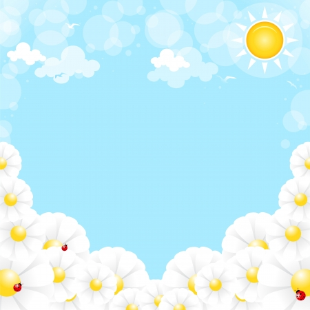 Flowers on a background of blue sky with clouds Vector