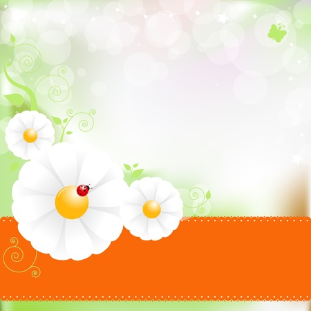 Beautiful illustration of flower background on orange for message Stock Vector - 13632870