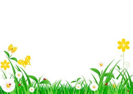 prato e cielo: Erba verde con fiori e cielo blu