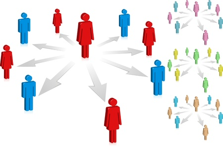 mutual assistance: People connect in a social media network or business company. Illustration