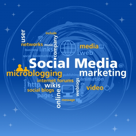 web marketing:  Social media mind map with networking concept words and blue background