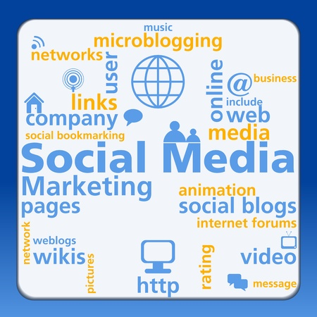 Social media mind map with networking concept words and background Vector