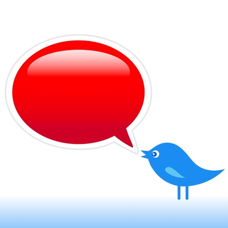 bookmarking: Blue bird with social media icons, illustration