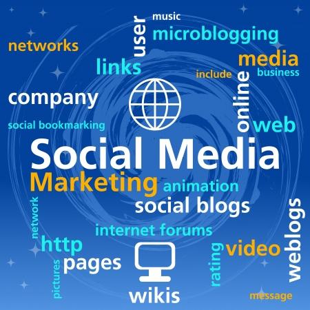 social media marketing: Los medios sociales mapa mental con las palabras concepto de redes
