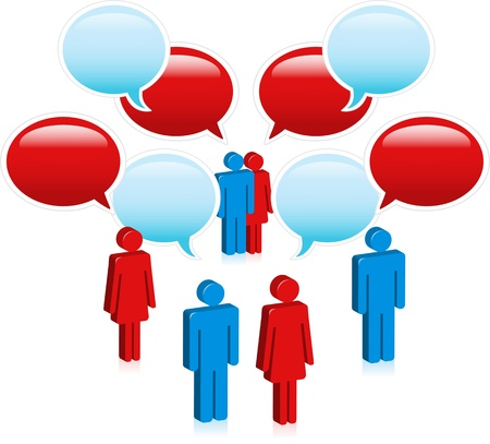 voices: Social media people talk in speech bubble chain of links.