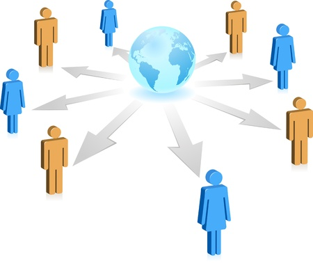 weblogs: Concept of social network. people of the world communicate through Internet technology