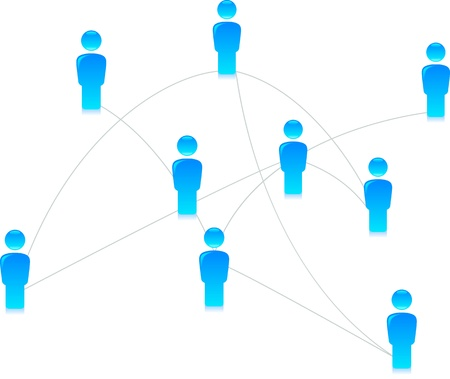 Illustration of a blue social media network