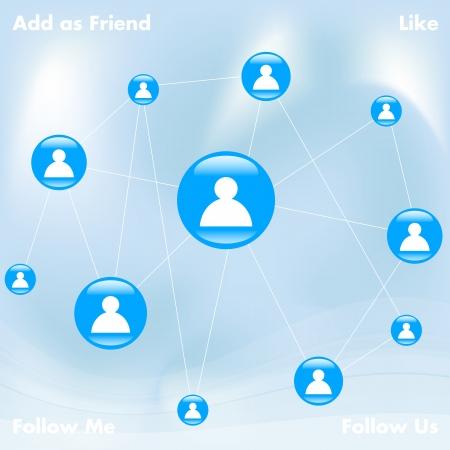 Illustration of a blue social media network Stock Vector - 13632873