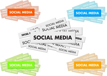 weblogs: Social media word cloud concept illustration, isolated on white background.