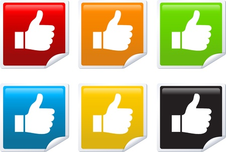 Set of Thumb Up Stickers Vector