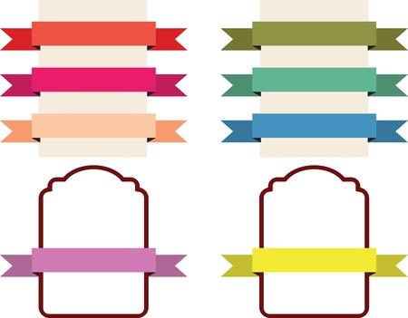 scrap book: Set of retro ribbons and labels illustration