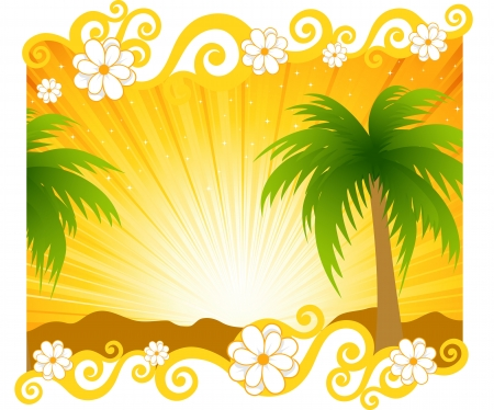 The image of a beach and a palm tree illustration Vector