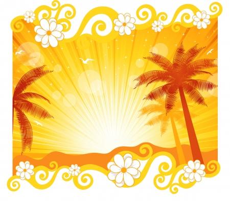 L'immagine di una spiaggia e una illustrazione palma