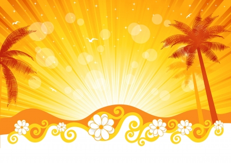The image of a beach and a palm tree illustration Stock Vector - 13639630