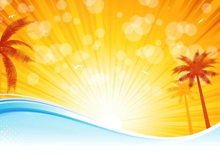 Tropical palm trees in the ocean Vector