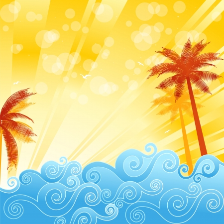 ocean view: Tropical palm trees in the ocean, illustration Illustration