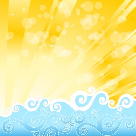 Blue sea waves, sun and beach illustration Stock Vector - 13639606