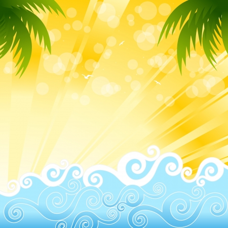 postcard template: Tropical palm trees in the ocean, illustration Illustration