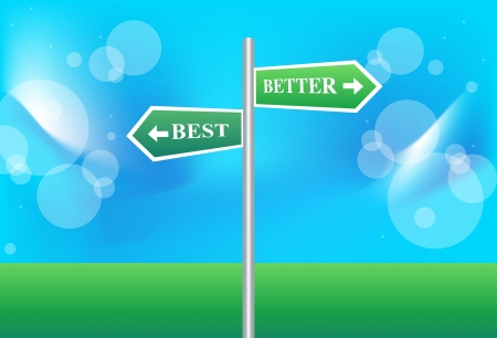 better: Road sign of text, best and better