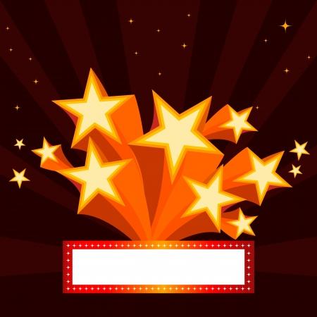 Orange star burst background and ribbon