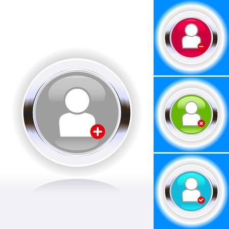 Shiny people symbol icon set Stock Vector - 14022689