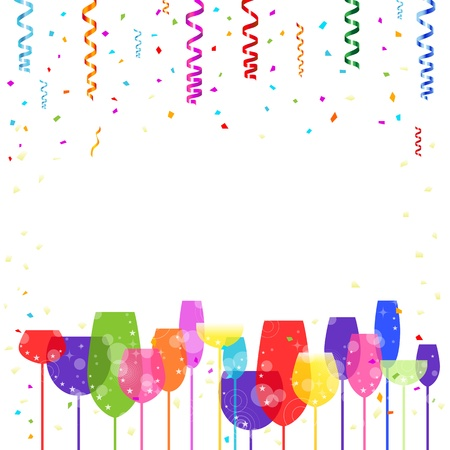 Party decorations, confetti and refreshments Objects are organized on separate layers  Stock Vector - 14019069